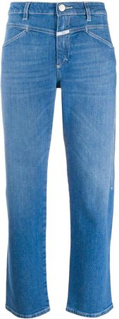 Faded Straight-Leg Jeans