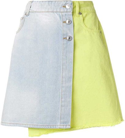 MSGM colourblock denim wrap skirt
