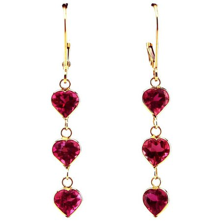 2.5CT Natural Rubellite Raspberry Pink Tourmaline Heart Cut Earrings : Samantha Cham NYC | Ruby Lane