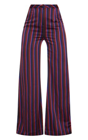 Burgundy Stripe Wide Leg Suit Trousers. Trousers   PrettyLittleThing