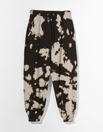 brown Plush tie-dye joggers - Pants - Woman | Bershka