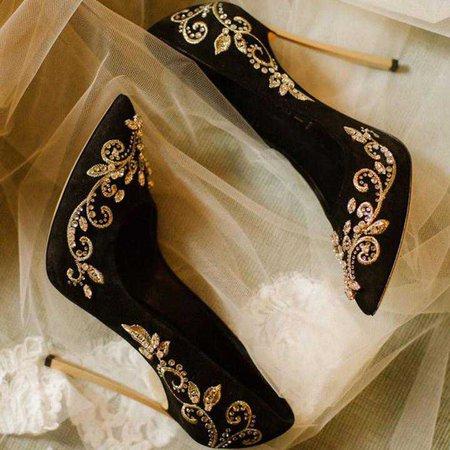 FSJ Shoes Black and Gold Wedding Heels Embroidered Rhinestone Pumps US Size 3-15 - AdoreWe.com