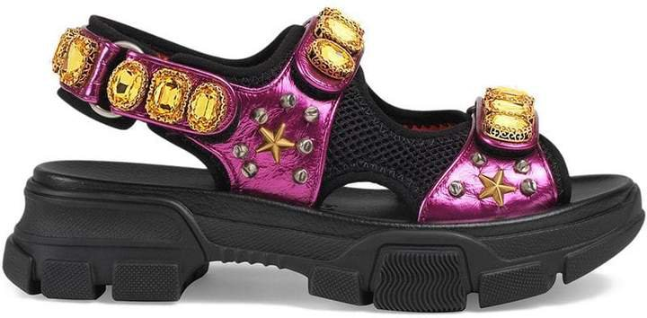 Metallic leather sandal with crystals