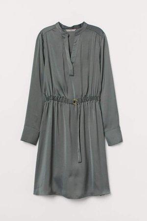 V-neck Shirt Dress - Green