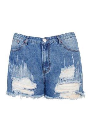 Plus Distressed Ripped Hem Jean Shorts | boohoo