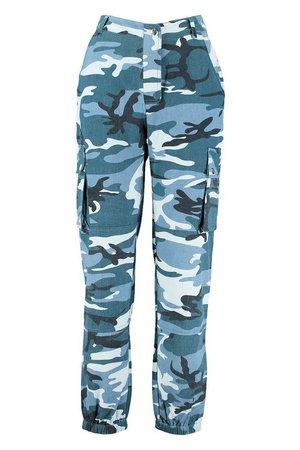 Camo Cargo Pants blue | Boohoo
