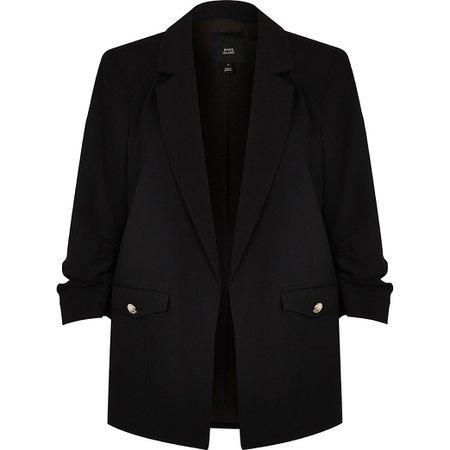 Black ruched sleeve blazer | River Island