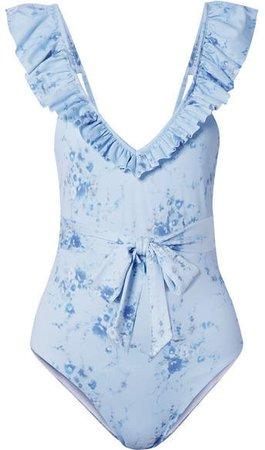 Jasper Belted Ruffled Floral-print Swimsuit - Light blue
