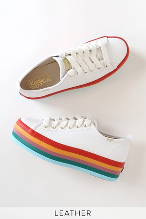 Keds Triple Up Rainbow White Sneakers - Platform Sneakers - Shoes