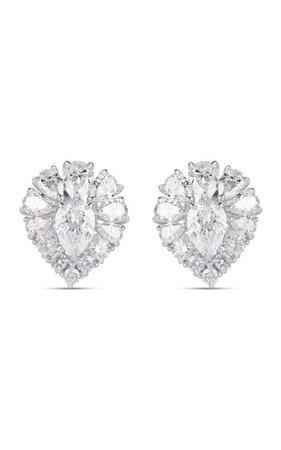 Peacock 18k White Gold Diamond Earrings By Harakh   Moda Operandi