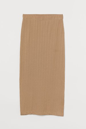 Ribbed Pencil Skirt - Beige