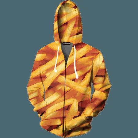 French Fries Zip Up Hoodie - All Over Print Apparel - Getonfleek
