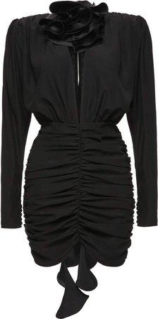Magda Butrym Silk-Blend Ruched Mini Dress