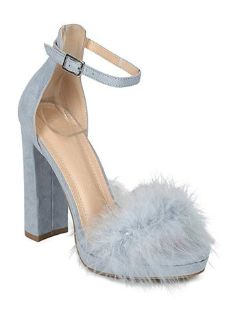 Amazon.com | Women Faux Suede Feather Ankle Strap Block Heel Sandal-HK87 Wild Diva Collection - Blue Grey Faux Suede (Size: 8.0) | Heeled Sandals