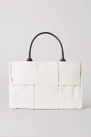 Cabas Leather-trimmed Intrecciato Canvas Tote - Beige