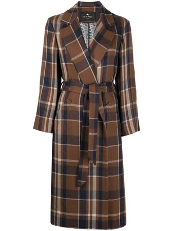 Etro Checked mid-length Wool Coat - Farfetch