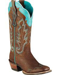 blue n brown cowgirl boots