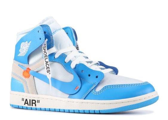 "Nike Jordan 1 retro high off-white ""off white unc"""