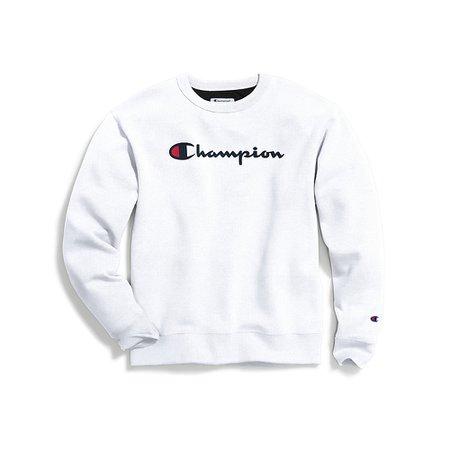 Champion GF88H Y06794 Men's Powerblend Crew, Script Logo