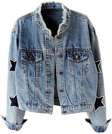 Kedera Women's Star Embroidered Rivet Pearl Denim Jacket Coat at Amazon Women's Coats Shop