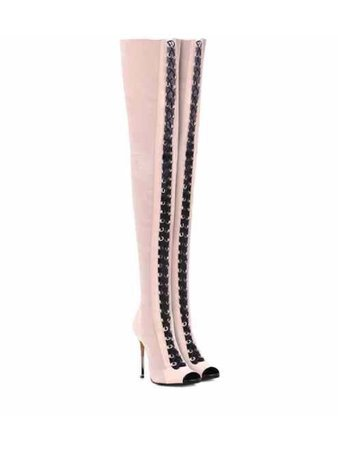 Light pink knee high black lace up high heel boots