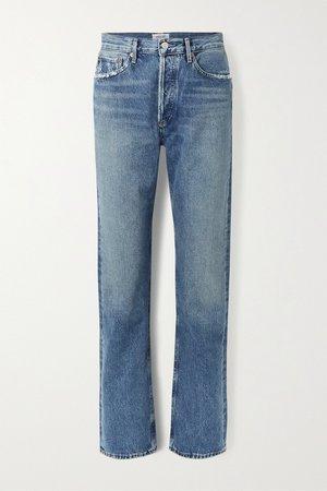 Mid denim + NET SUSTAIN Lana distressed organic low-rise straight-leg jeans   AGOLDE   NET-A-PORTER