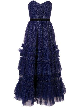 Blue Marchesa Notte Glitter Ruffle Gown For Women | Farfetch.com