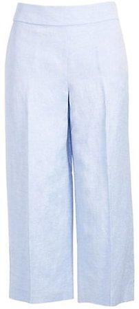 Petite Linen Blend Wide Leg Crop Pants