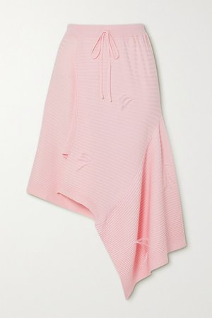 Asymmetric Feather-embellished Ribbed-knit Skirt - Pink