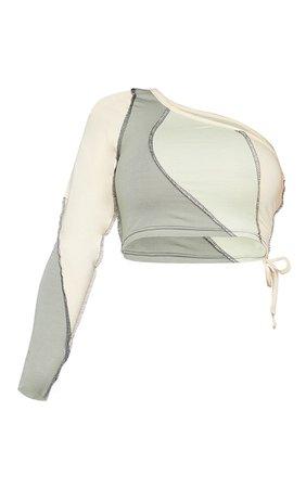 Shape Sage Green Cotton One Shoulder Crop Top | PrettyLittleThing