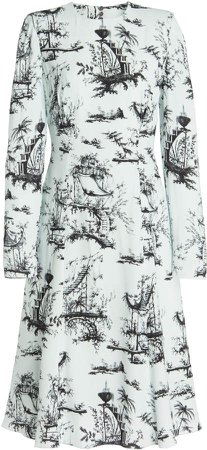 Erdem Gisella Floral Print Tie-Back Silk Dress