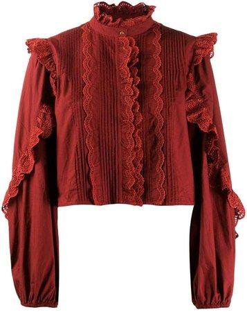 frill-trim blouse