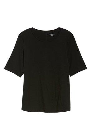 Eileen Fisher Crewneck Tee (Plus Size) black