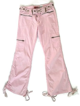 90s pink flare cargo pants low rise