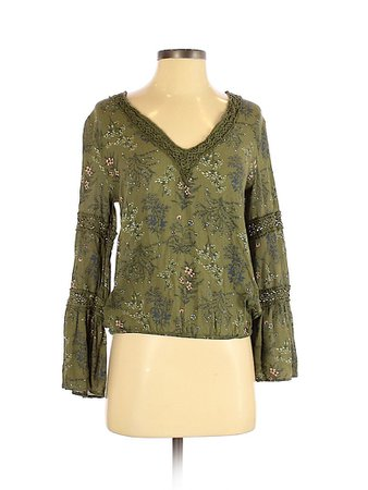 Melrose and Market 100% Rayon Animal Print Green Long Sleeve Blouse Size S - 77% off | thredUP