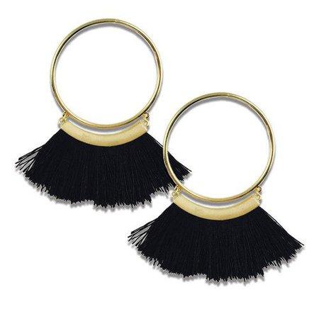 gold and black fringe earrings