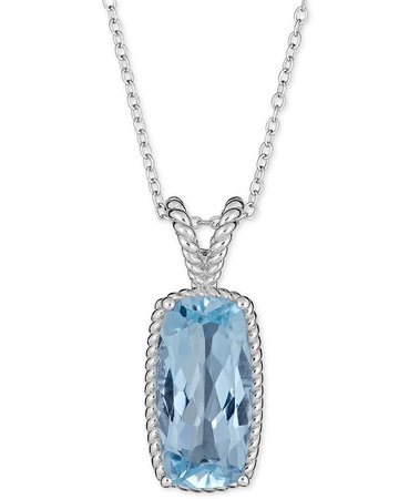 Macy's Sterling Silver Blue Topaz Rope Frame Pendant Necklace