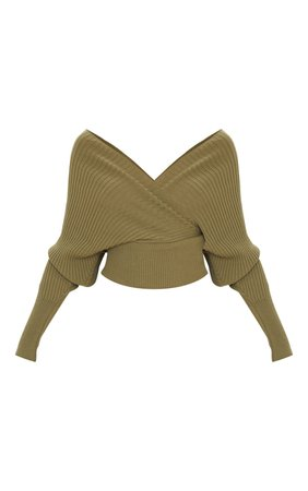 Khaki Wrap Off The Shoulder Jumper | Knitwear | PrettyLittleThing USA