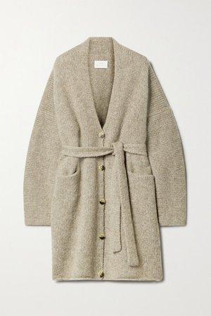 Belted Knitted Cardigan - Mushroom
