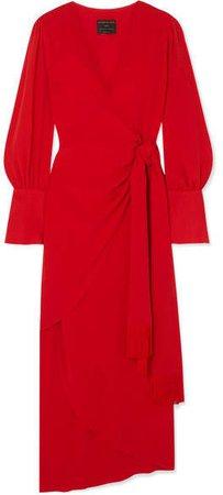 Fringe-trimmed Lyocell Wrap Dress - Red