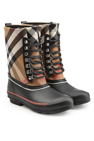 Rubber Rain Boots with Checked Fabric and Leather Gr. IT 36