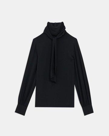 Tie Neck Blouse in Silk Georgette