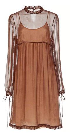 Long Sleeve Chiffon Baby Doll Dress