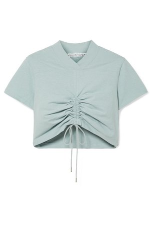 T by Alexander Wang   Cropped ruched cotton-jersey T-shirt   NET-A-PORTER.COM