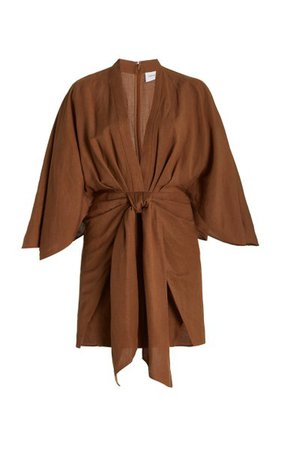 Lola Linen-Blend Mini Wrap Dress By Significant Other   Moda Operandi