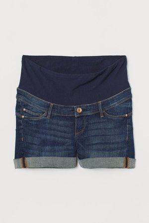 MAMA Push-up Denim Shorts - Blue