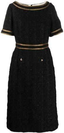 Tweed dress with decorative trim
