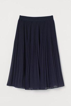 Pleated Skirt - Dark blue - Ladies | H&M US