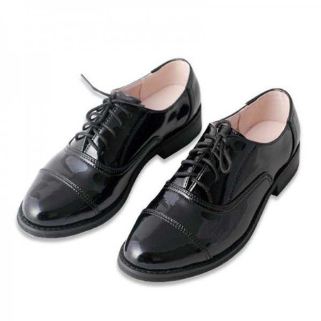 Black Women's Oxfords Patent Leather Lace up Flats