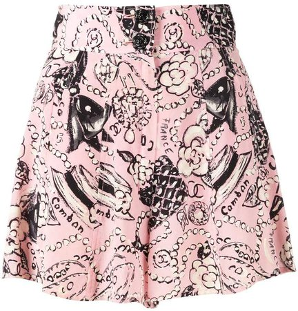 Pre-Owned signature print shorts